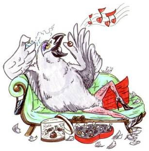 cartoon African Grey parrot female lying on a divan with perfume, candies, high-heeled shoes